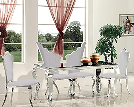 Swan Regal Dining Dining Chair Dining Room Chair White Stainless Steel Faux Leather Dining Chair Amazon De Kuche Haushalt