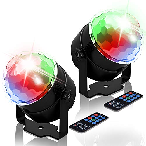 NEQUARE Party Lights Sound Activated Disco Ball Strobe Light 7 Lighting Color Disco Lights with Remote Control for Bar Club Party DJ Karaoke Xmas Wedding Show and Outdoor [2-Pack] -