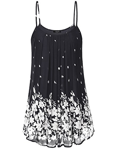 Laksmi Women's Pleated Chiffon Layered Cami Front Pleat Cool Short Tank Tunic Dress (L, Multicolor Black)