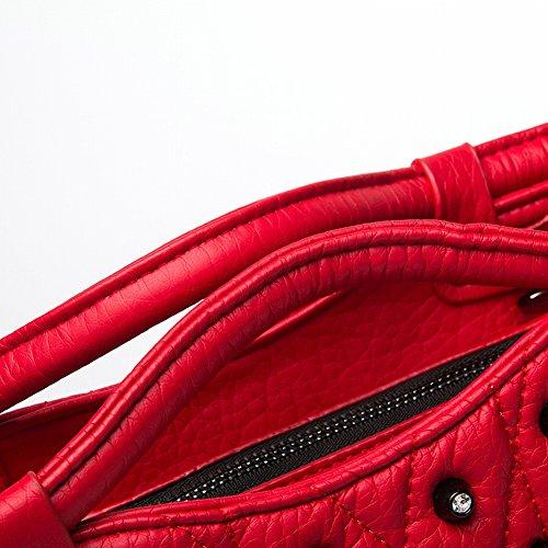 Broderie Sac à Paquet Diagonale Pu Mode Bandoulière Ligne de à de Capacité YTTY à Diamant Rivets Paquet Sac Main Grande rouge Sac Main qx8gaq0HvS