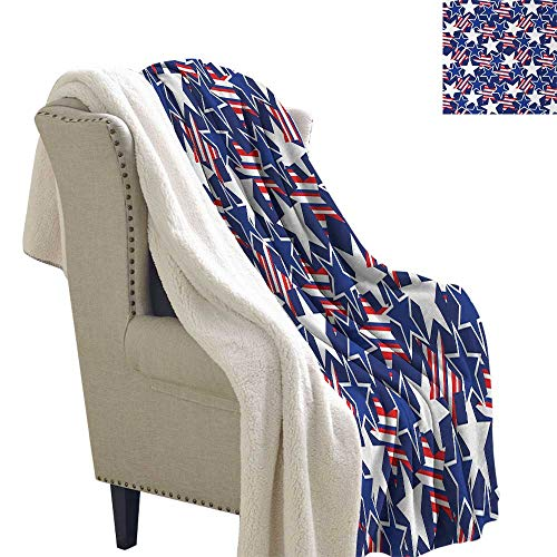 4th of July Cozy Flannel Blanket Stars and Stripes of Liberty and Freedom Patriotic American Pattern Blanket for Sofa Couch Bed 60x78 Inch Royal Blue Red White -