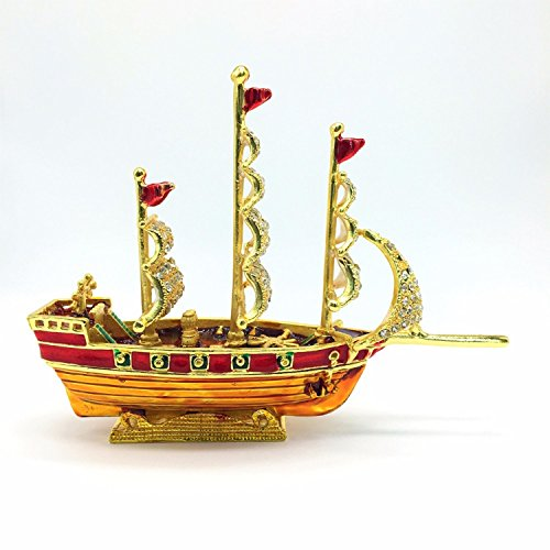 Red With Gold Color Sailboat Nautical Decor Painted By Manual Work And Mounted Diamond Exquisite Workmanship Attractive Design. (Outboard Block Clamp)