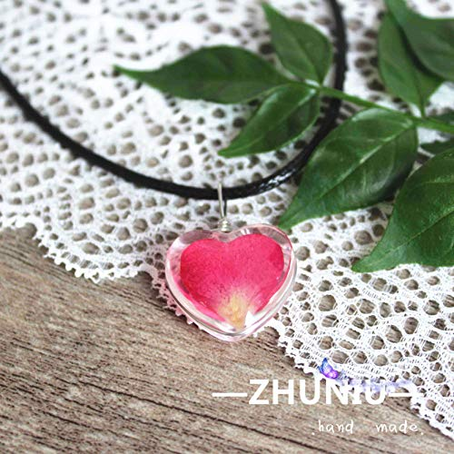 globe shaped gem time original glass rose petals real flowers dried flower necklace pendant chain stall supply (18mm heart-shaped rose red rose petals A-collar Crystal Heart 18mm Charm