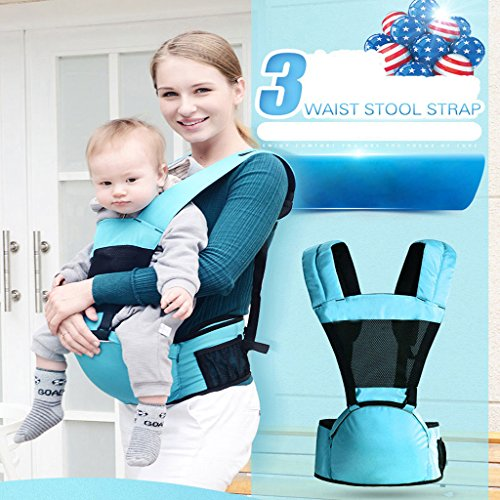 Flip Front 2 Back Baby Carriers,Soft Carrier for Summer Newborn Toddler HipSeat Infant Child Backpack Carrier Easy (Blue)