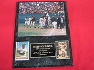 1971 Pirates World Series Champions 2 Card Collector Plaque w/ 8x10 Celebration Photo