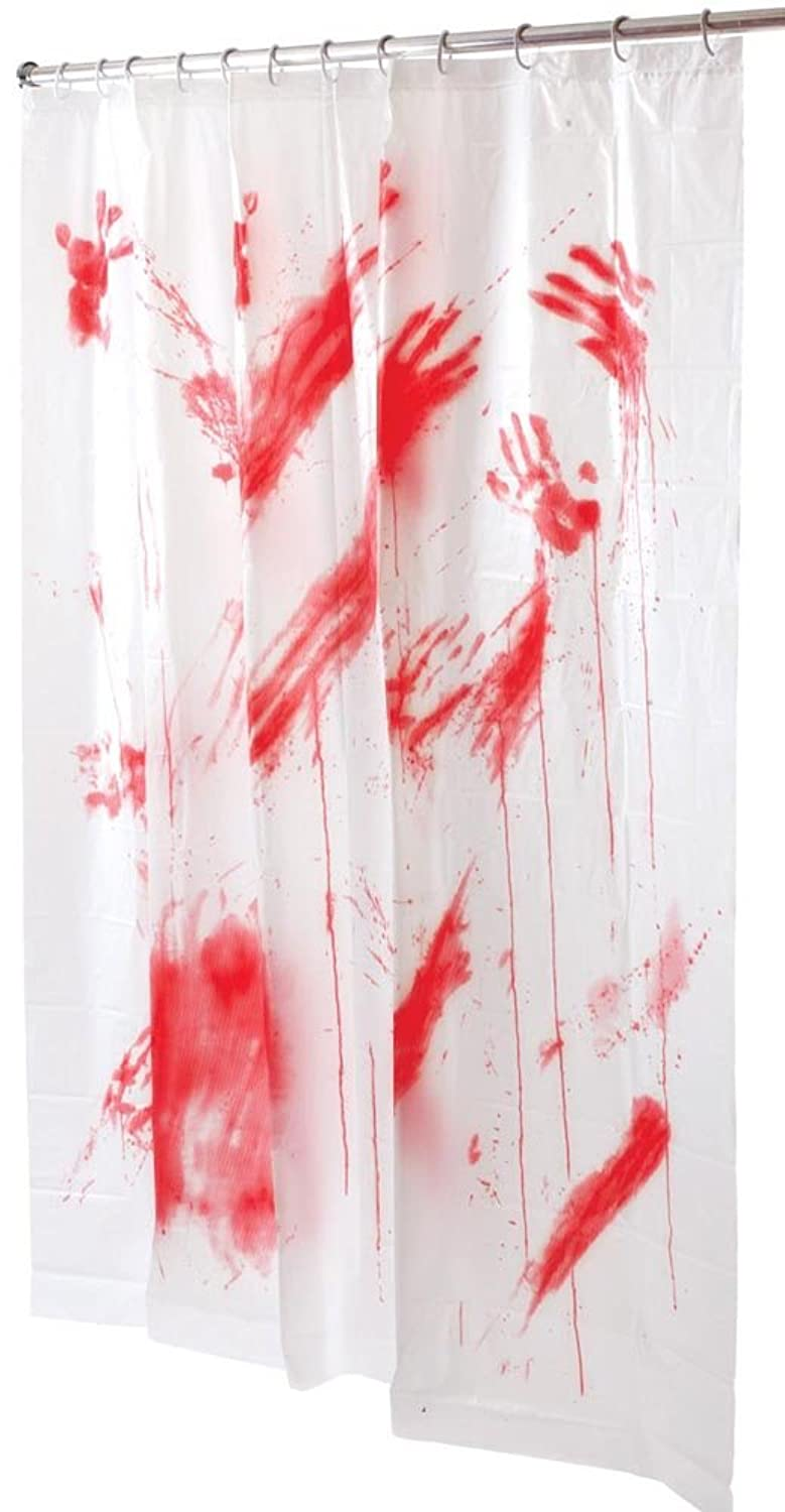 Blood shower curtain plastic white bathroom bath screen for Bathroom designs with shower curtains