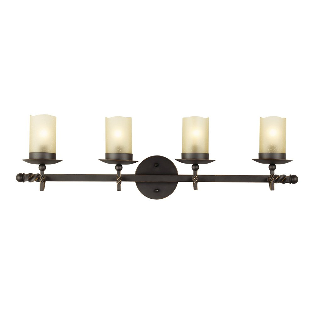 Sea Gull Lighting 4410604-191 Trempealeau Four-Light Wall/ Bath with Champagne Seeded Glass, Roman Bronze Finish by Seagull