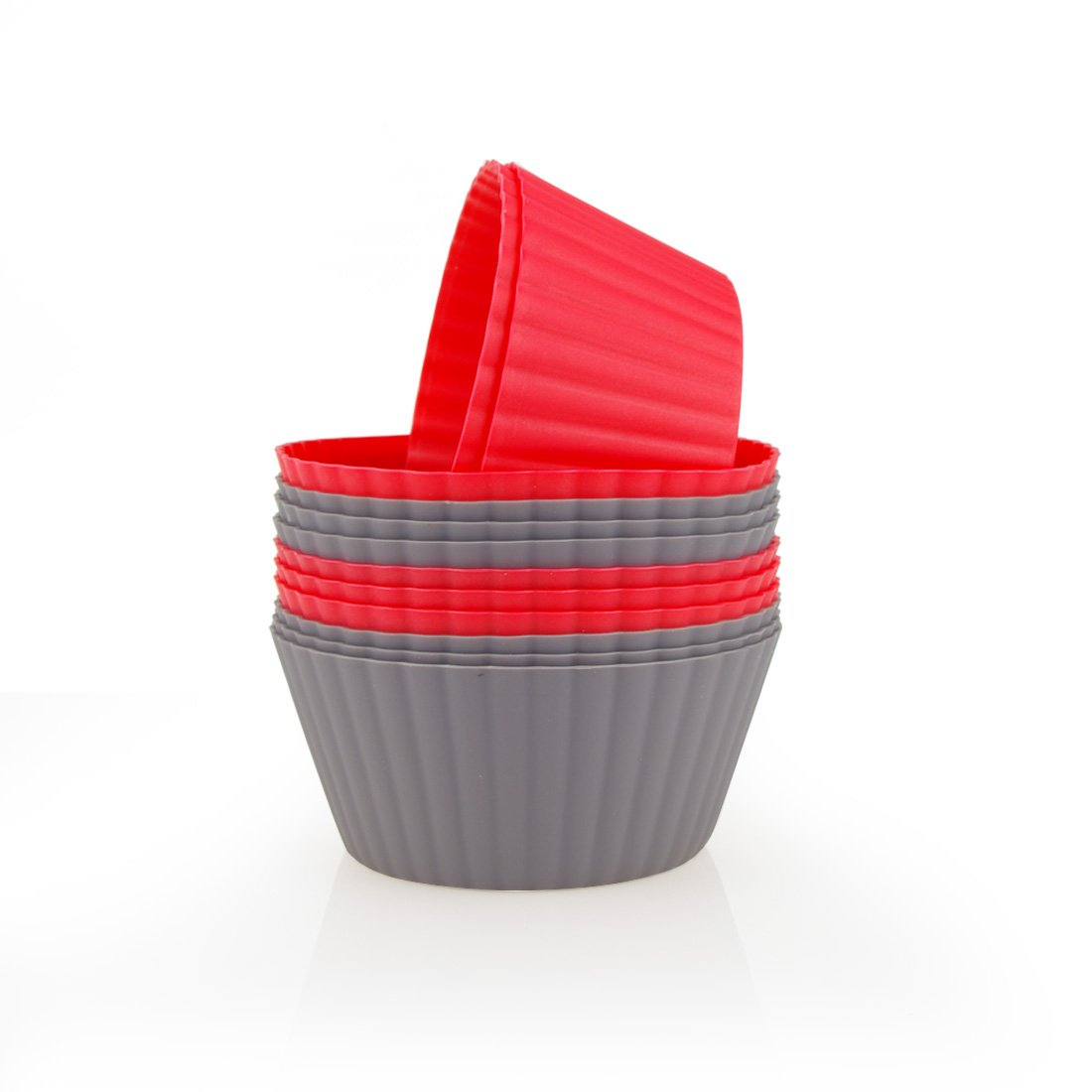 Mirenlife 12 Pack Reusable Nonstick Jumbo Silicone Baking Cups, Cupcake and Muffin Liners, 3.8 Inch Large Size, in Storage Container, Red and Dark Gray Colors, Round