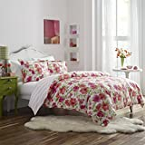 overstock duvet cover Poppy & Fritz Floral Buffy Duvet Cover/Sham Set, Full/Queen, Pink