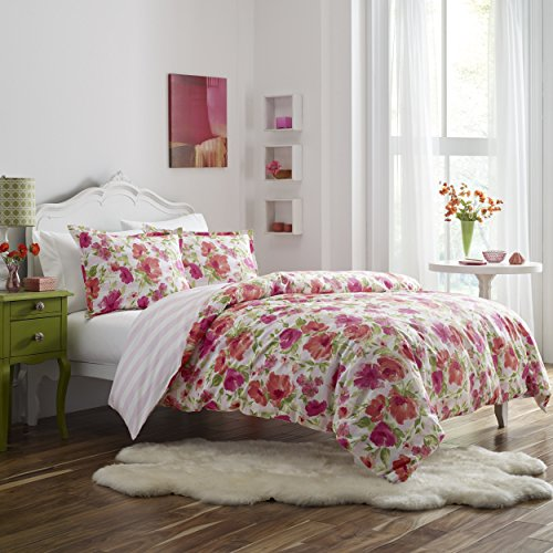 Poppy & Fritz Floral Buffy Duvet Cover/Sham Set, Twin, Pink - Bedding Stripe Awning