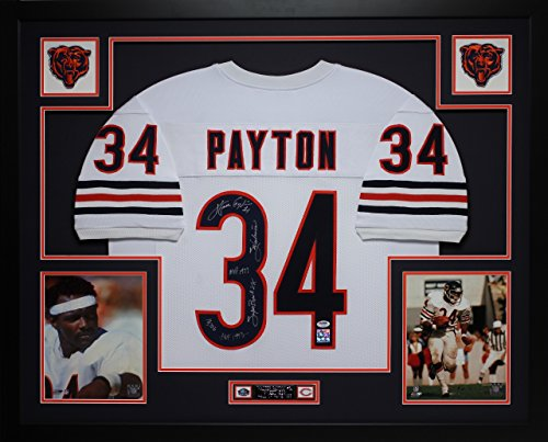 Walter Payton Autographed White Bears Jersey - Beautifully Matted and Framed - Hand Signed By Walter Payton and Certified Authentic by PSA - Includes Certificate of (Walter Payton Autographed Jersey)