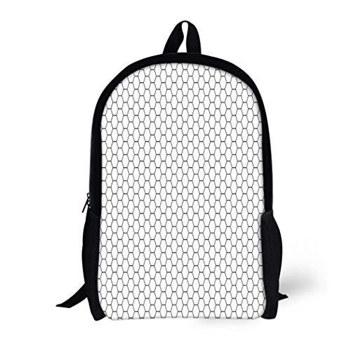 Pinbeam Backpack Travel Daypack Grid Hexagonal Cell Honeycomb on Speaker Grille Geometric Waterproof School Bag ()