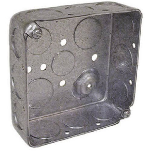 Hubbell-Raco 8192 1-1/2-Inch Deep, 1/2-Inch and 3/4-Inch Side Knockouts, Drawn 4-Inch Square Box