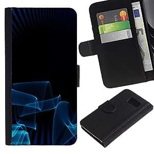 Planetar® Modelo colorido cuero carpeta tirón caso cubierta piel Holster Funda protección Para Samsung Galaxy S6 / SM-G920 ( Blue Lines 3D Art Dark Minimalist )