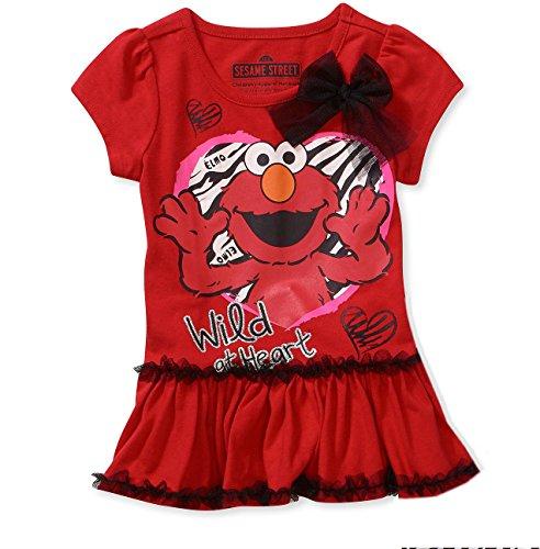Sesame Street Little Girls' Short Sleeve Ruffle Elmo Tee Shirt (3T) (Street Elmo Girls Sesame)