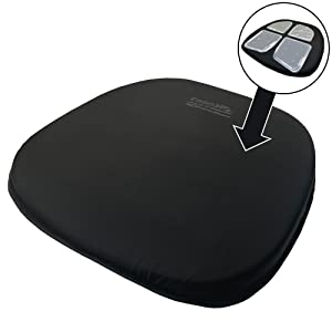 ERGO21 Travel Seat Cushion- LiquiCell Improves Blood Flow - an aid for Back Pain, Sciatica, Numbness - Planes, Trains, Conferences - Carry Handle