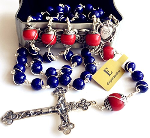 Handmade Sterling 925 Silver Lapis Lazuli Beads Rosary Cross Crucifix Catholic Necklace Gifts by elegantmedical (Image #3)
