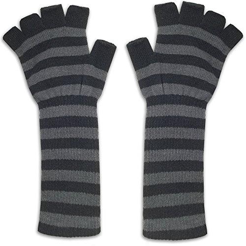 Black Striped Fingerless Gloves (Women's Fingerless Knitted Gloves - Ladies Adult One Size - Hand Wrist Warmer, Black/Grey)