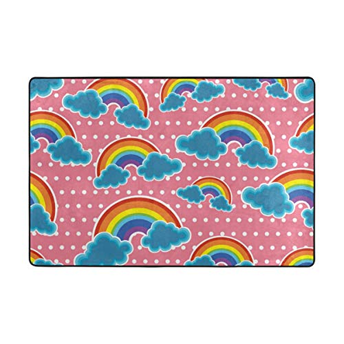 Vantaso Area Rugs Soft Foam Rainbow Clouds Polka Dots Pink Non Slip 36x24 inch Playmats for Kids Boys Girls Playing Room Living Room ()