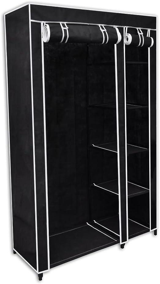 Xinglieu - Armario guardarropa plegable negro 110 x 45 x 175 ...