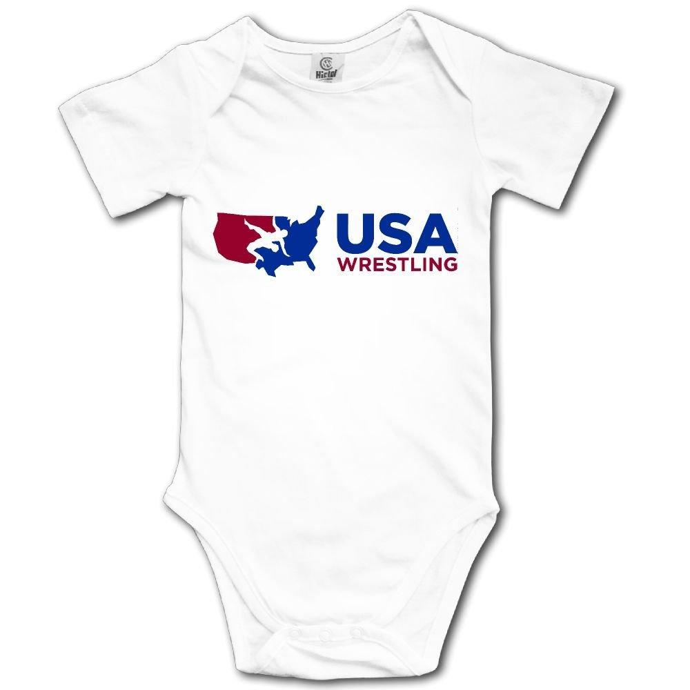 WWTBBJ-B USA Wrestling Cute Unisex Baby Short Sleeve Romper Jumpsuit Bodysuit