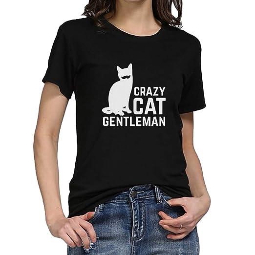 a655de560 Amazon.com: Usstore Women T-Shirt Short Sleeve Letter Moon Cat Print Summer  Casual Essential Fashion Day School Baggy Sports Tee Tops (XL, Black):  Clothing