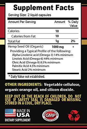 Pain Relief Pills Natural - Organic Hemp Seed Oil 1000 Mg - Hemp Seed Oil for Anxiety and Sleep - 3 Bottles 360 Liquid Capsules by Skin Care Solution (Image #1)