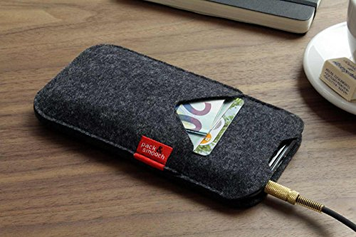 "Pack & Smooch Shetland iPhone X (5.8"") Cover Case made with 100% Merino Wool Felt and Natural Vegetable Tanned Leather - Dark Grey by Pack & Smooch (Image #4)"