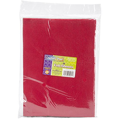 Creativity Street Felt Sheets, 9 by 12-Inch, Assorted Color, 12-Pack