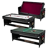 Fat Cat Pockey 7 Feet Black 3-in-1 Air Hockey, Billiards with Burgundy Felt, and Table Tennis Table
