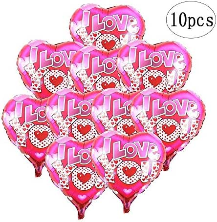 BinaryABC Valentine's Day Balloons,Heart Foil Balloons,i Love You Balloons,Engagement Wedding Party Decorations,10Pcs