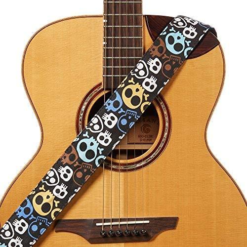 (Amumu Cartoon Skull Guitar Strap Multi-Color Denim for Acoustic, Electric and Bass Guitars with Strap Blocks & Headstock Strap Tie - 2