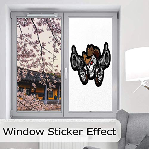 g Decorative Window Film,Skull,Suitable for Kitchen, Bedroom, Living Room,Skull Cowboy Targets Shooting with The Guns Wild,24''x48'' ()