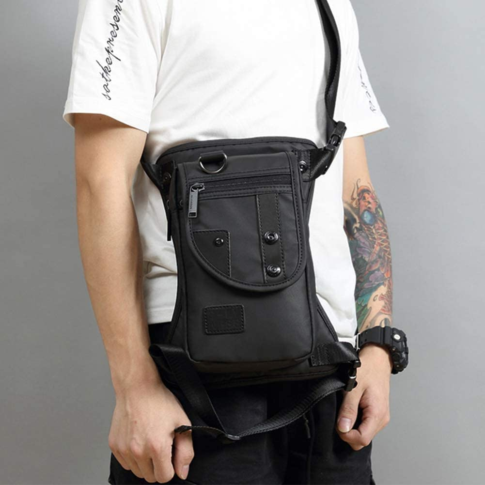 Image of a man wearing a black leg bag with zipper-closure front pocket
