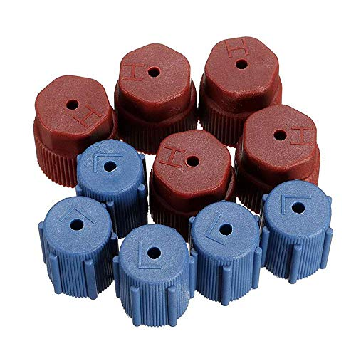BLSMU 10 Pcs/Set AC Cap R134a Air Conditioning Service AC System Charging Port Caps,Charging Port Caps High Low Side,AC Caps(5Red High & 5Blue Low)