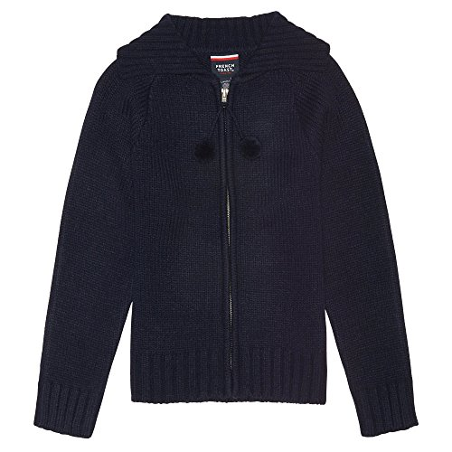 (French Toast Little Girls Long Sleeve Pom Zip Front Sweater, Navy,  Small/6/6x)