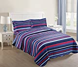 MarCielo 3 Piece Kids Bedspread Quilts Set Throw Blanket for Teens Boys Girls Bed Printed Bedding Coverlet, Full Size (Full, Navy Blue Ocean Breeze)