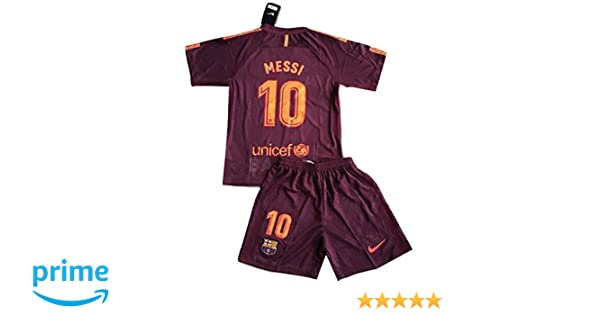 Amazon.com: Messi #10 FC Barcelona 2017/2018 3rd Champions League Jersey and Shorts for Kids/Youths (7-8 Years Old): Clothing
