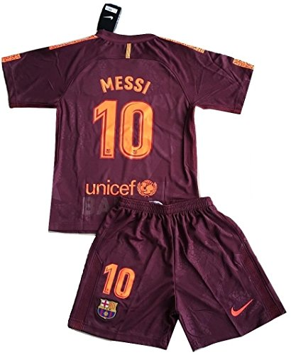Messi #10 FC Barcelona 2017/2018 3rd Champions League Jersey and Shorts for Kids/Youths (7-8 Years Old)
