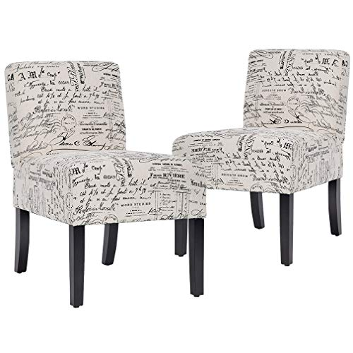 Accent Chair Armless Chair Dining Chair Set of 2 Elegant Design Modern Fabric Living Room Chairs Sofa (Leather Living Sofa Room Finish)