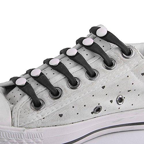 Toogoo Pour De 12pcs r Adulte Lot Chaussures Elastique Lacage Sans Noir Adulte Silicone Lacets blanc En rwxSrBR