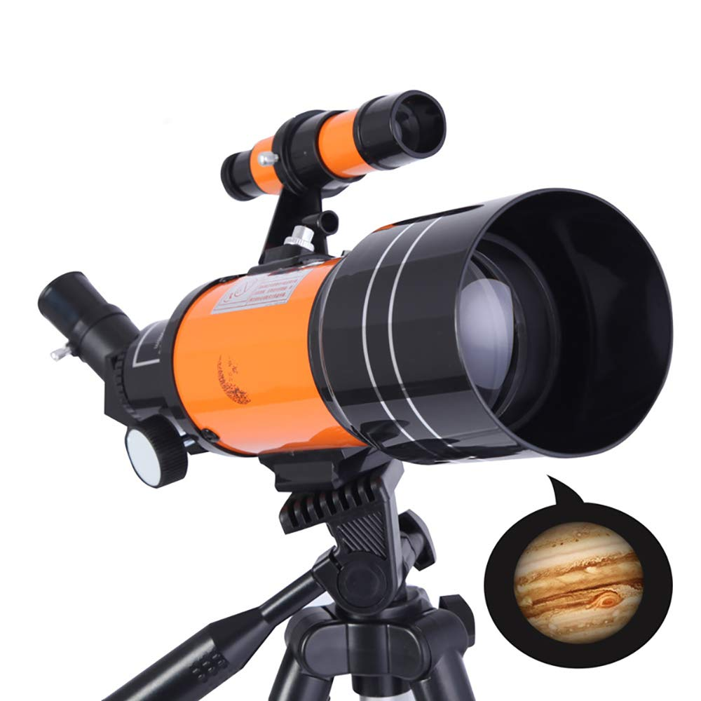 H&T 70Mm Astronomical Telescope, Best Telescopes for Beginners 150 Times Zooming Outdoor Telescope with Mobile Phone Holder Portable Tripod Gift-Yellow by H&T