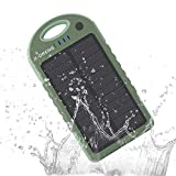 Solar Charger 12000mAh Waterproof Dual USB Port LED Flashlight Outdoor Carabiner Dustproof Shockproof