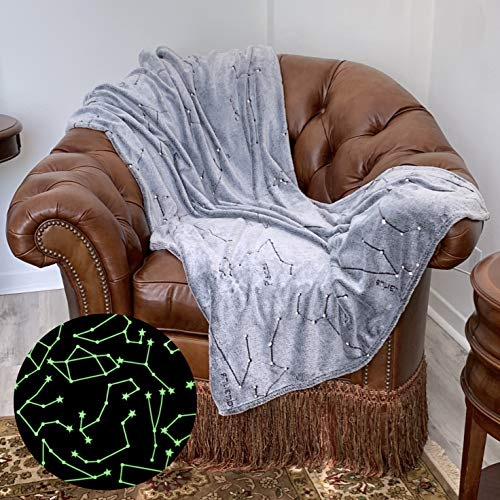 Constellation Blanket Glow in The Dark   Super Soft Space Theme Decor   Has All Zodiac Horoscope Signs in The Galaxy   Great Gift for Solar System, Stargazers, Astronomy, Astrology, Astronaut Lovers