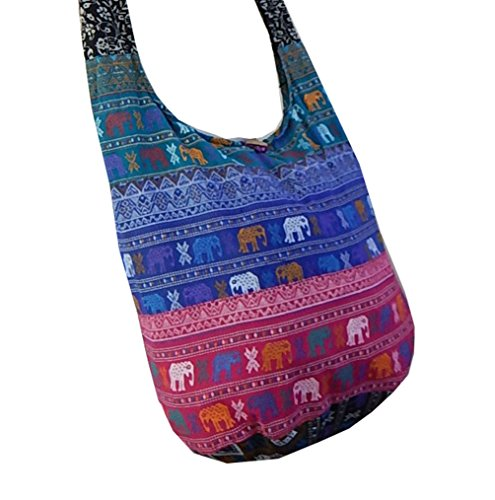 BTP! Thai Cotton Hippie Hobo Sling Crossbody Bag Messenger Purse Ethnic Elephant Parade (Patchwork Random Colors PW2) by BenThai Products