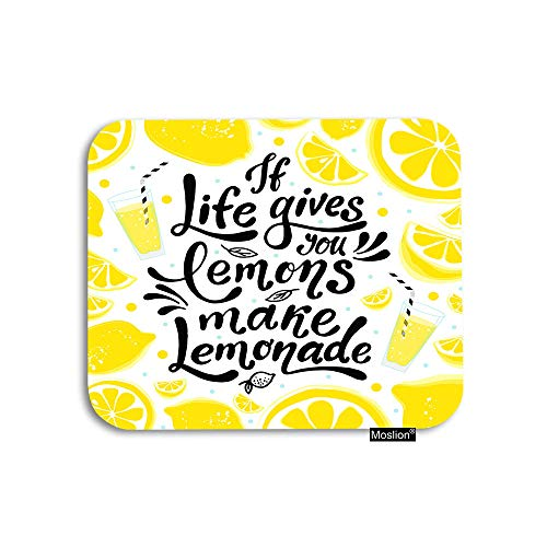 Moslion Motivational Quote Mouse Pad If Life Gives You Lemons Make Lemonade Gaming Mouse Pad Rubber Large Mousepad for Computer Desk Laptop Office Work 7.9x9.5 Inch Yellow White Black