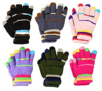 Toddler-Kids Insulated Extra Thick Gloves Children Knit Multi Colors 6 pairs 4331142585