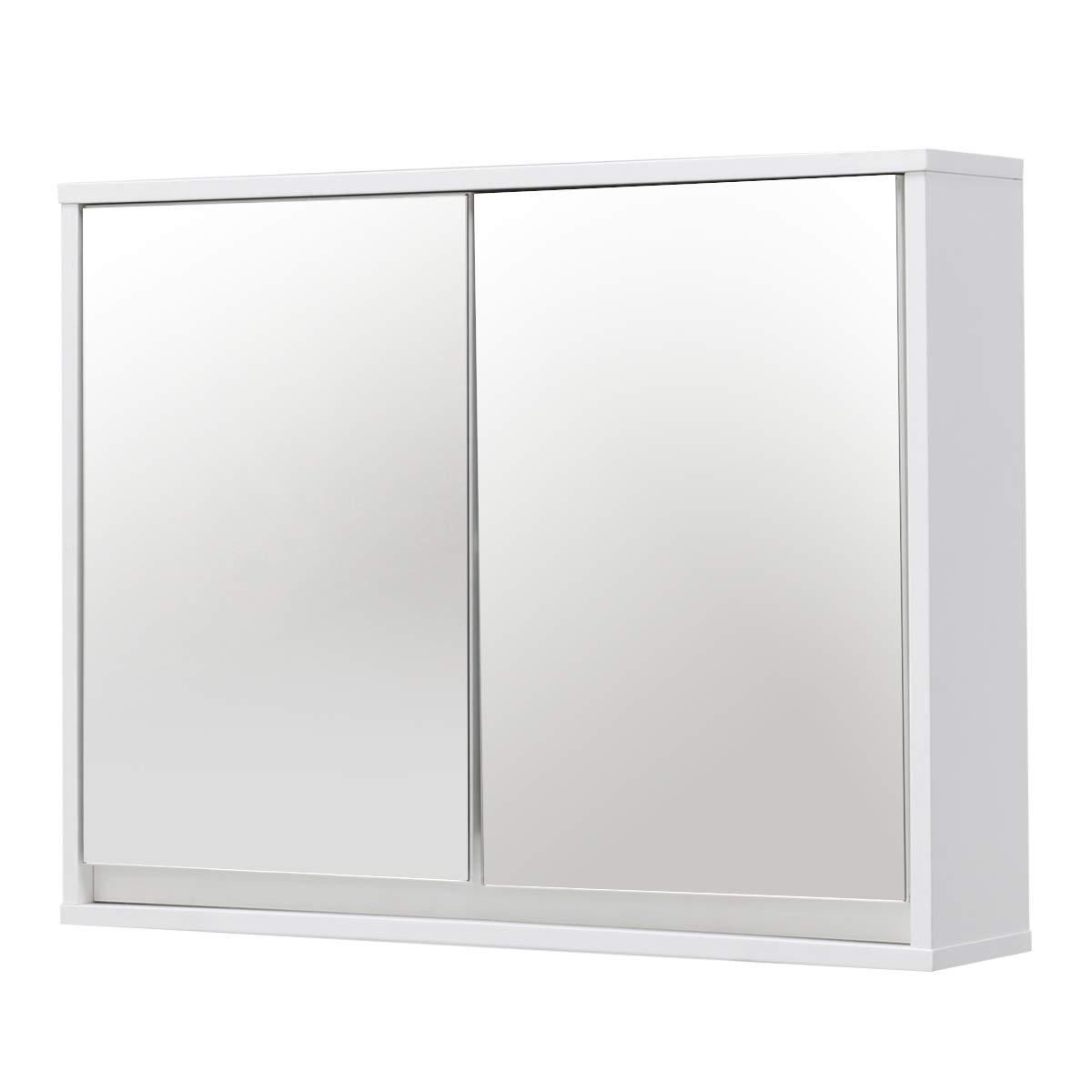 TANGKULA 22'' Wide Wall Mounted Mirror Cabinet Bathroom Medicine Cabinet Double Doors Storage Organizer Shelf Bathroom Cabinet Double Mirror Door Wall Mount Storage Wood Shelf White (22'' Wood Shelf)
