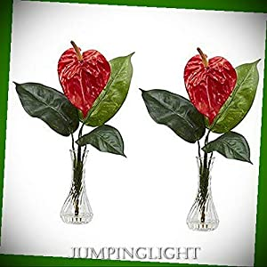 JumpingLight 1286 Anthurium with Bud Vase Silk Flower Arrangement (Set of 2) Artificial Flowers Wedding Party Centerpieces Arrangements Bouquets Supplies 114