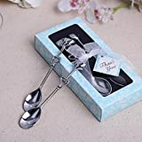 Love Heart Stainless Steel Couple Coffee Spoons For Wedding Favor and baby shower, Set of 100